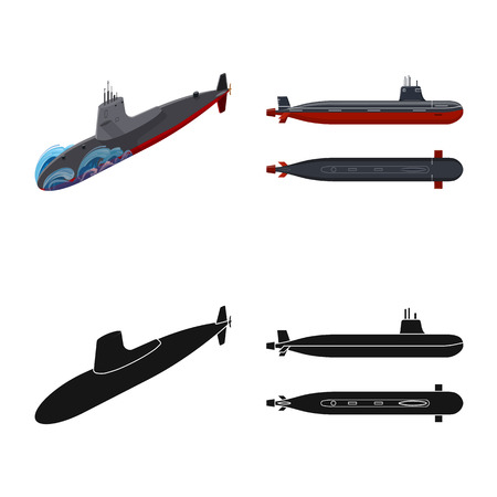 Isolated object of war and ship sign. Collection of war and fleet vector icon for stock.