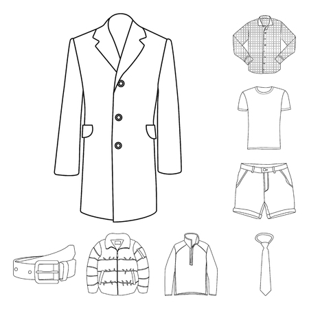 Na białym tle obiekt symbol człowieka i odzieży. Kolekcja człowieka i nosić Stockowa ilustracja wektorowa.