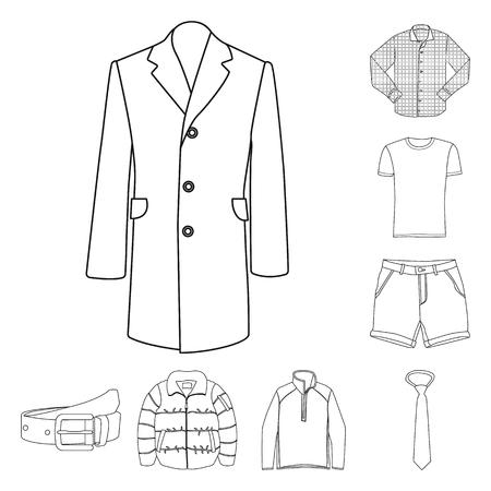 Oggetto isolato dell'uomo e simbolo di abbigliamento. Raccolta di uomo e usura stock illustrazione vettoriale.