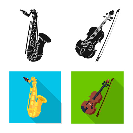 Vector illustration of music and tune sign. Set of music and tool stock vector illustration. Ilustrace