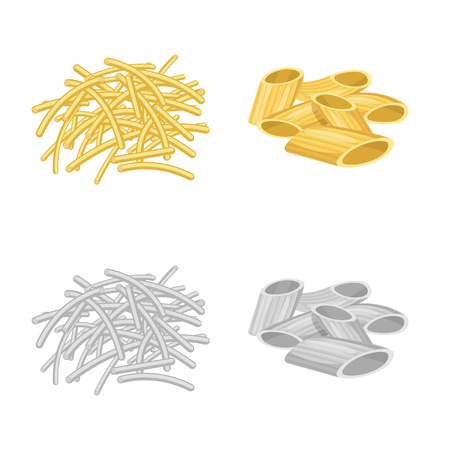 Vector design of pasta and carbohydrate icon. Set of pasta and macaroni vector icon for stock.