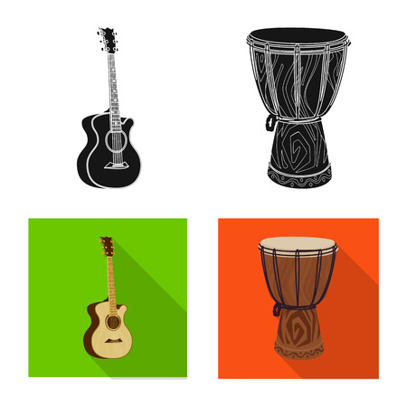 Vector design of music and tune symbol. Set of music and tool vector icon for stock. Ilustração