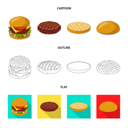 Vector illustration of burger and sandwich logo. Set of burger and slice stock symbol for web.