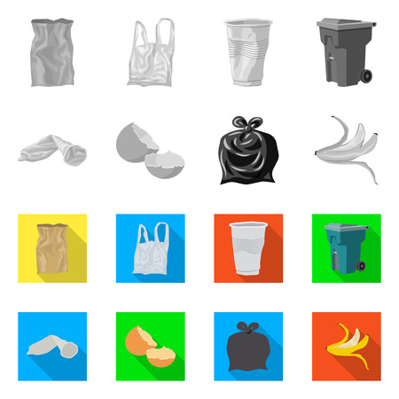 Isolated object of dump  and sort symbol. Set of dump  and junk vector icon for stock. Illustration
