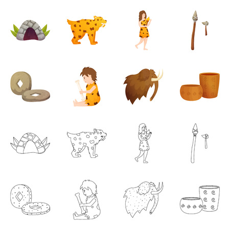 Isolated object of evolution and neolithic symbol. Collection of evolution and primeval vector icon for stock.