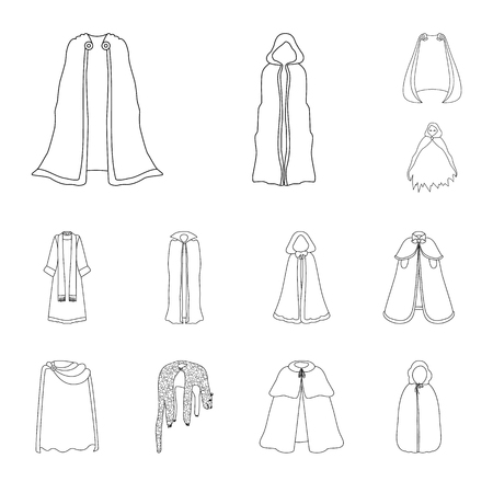Vector illustration of robe and garment icon. Set of robe and cloth vector icon for stock.