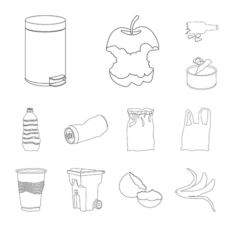Isolated object of garbage and ecology symbol. Set of garbage and recycling vector icon for stock.