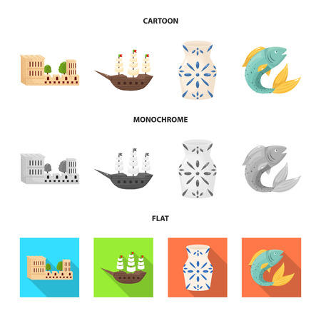 Isolated object of and historic icon. Collection of and country vector icon for stock. Vettoriali