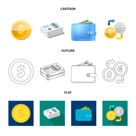 Vector design of bank and money icon. Set of bank and bill vector icon for stock.