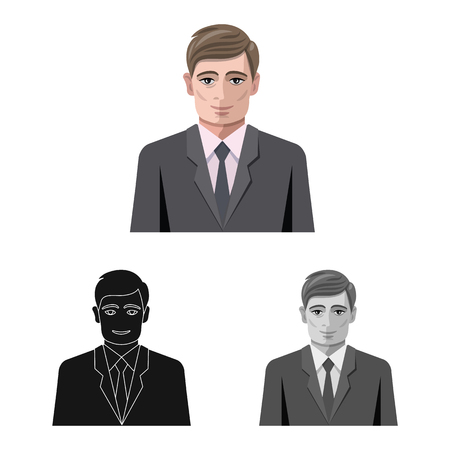 Isolated object of hairstyle and profession  icon. Collection of hairstyle and character  stock symbol for web. Ilustrace