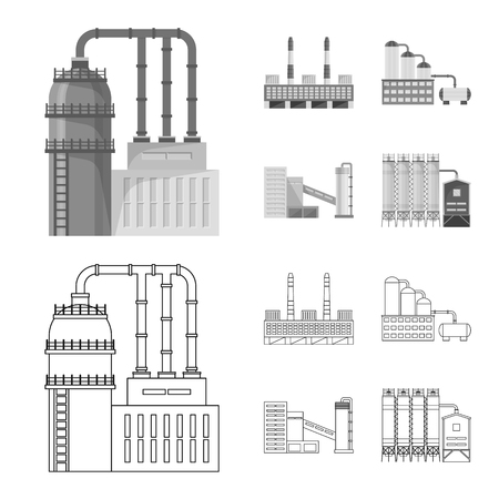 Vector illustration of production and structure symbol. Collection of production and technology vector icon for stock. Ilustração