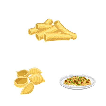 Vector illustration of pasta and carbohydrate symbol. Set of pasta and macaroni vector icon for stock.
