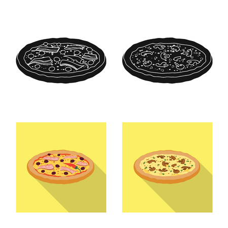 Vector illustration of pizza and food symbol. Collection of pizza and italy vector icon for stock.