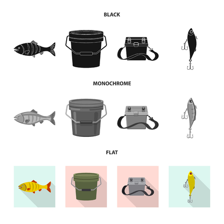 Isolated object of fish and fishing logo. Set of fish and equipment stock symbol for web. Vettoriali