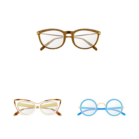 Isolated object of glasses and frame sign. Collection of glasses and accessory stock symbol for web.