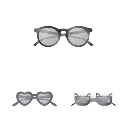 Vector illustration of glasses and sunglasses sign. Collection of glasses and accessory stock vector illustration.