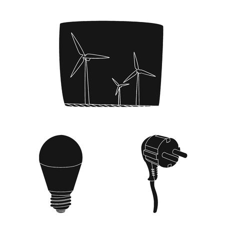 Vector design of electricity and electric symbol. Collection of electricity and energy stock symbol for web. Векторная Иллюстрация