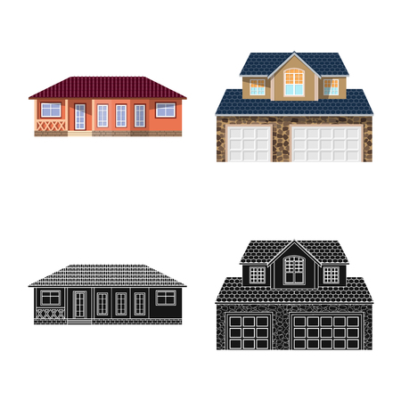 Isolated object of building and front sign. Collection of building and roof vector icon for stock.