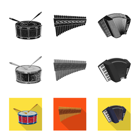 Isolated object of music and tune logo. Collection of music and tool stock symbol for web. Ilustrace