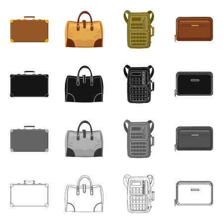 Il design del vettore di valigia e bagaglio icona. Collezione di valigia e viaggio simbolo azionario per il web.