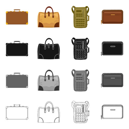 Vector design of suitcase and baggage icon. Collection of suitcase and journey stock symbol for web. 일러스트