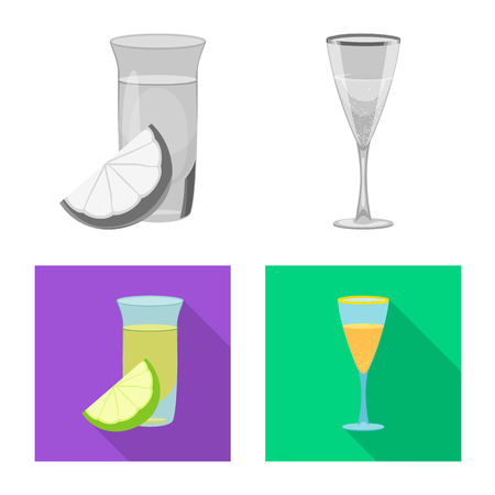 Vector illustration of drink and bar logo. Collection of drink and party stock symbol for web.