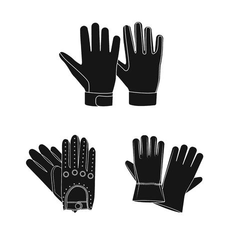Diseño vectorial de guante y signo de invierno. Colección de símbolo de stock de guantes y equipos para web.