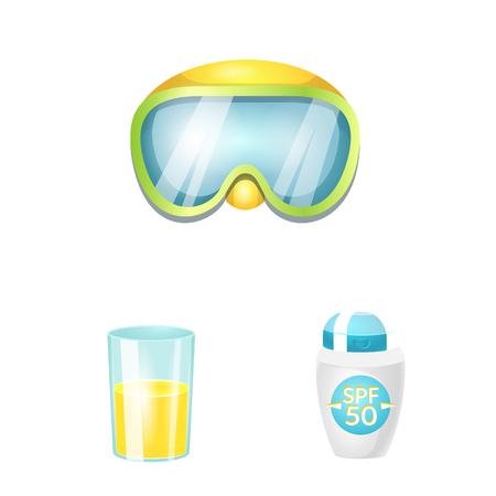Vector design of equipment and swimming logo. Collection of equipment and activity stock vector illustration. Illustration