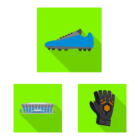 Vector illustration of soccer and gear sign. Set of soccer and tournament stock symbol for web. Çizim