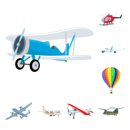 Isolated object of plane and transport sign. Collection of plane and sky stock symbol for web.