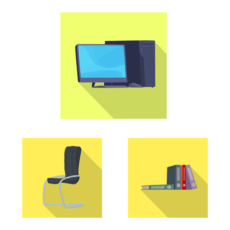 Vector design of furniture and work logo. Set of furniture and home vector icon for stock. Çizim