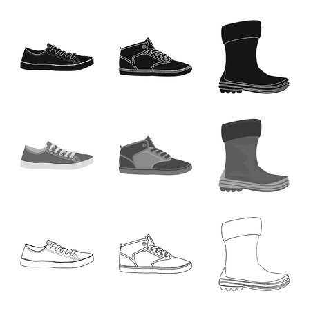 Isolated object of shoe and footwear sign. Collection of shoe and foot stock vector illustration. Vetores