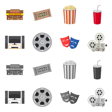 Vector design of television and filming icon. Collection of television and viewing stock vector illustration.