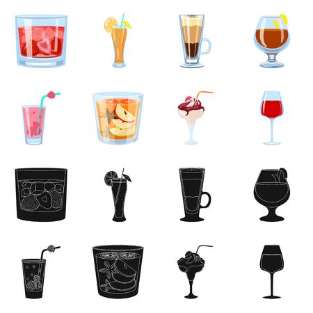 Vektordesign des Spirituosen- und Restaurantlogos. Sammlung von Spirituosen- und Zutaten-Aktiensymbolen für das Web. Logo