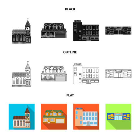 Vector illustration of building and front icon. Collection of building and roof stock symbol for web.