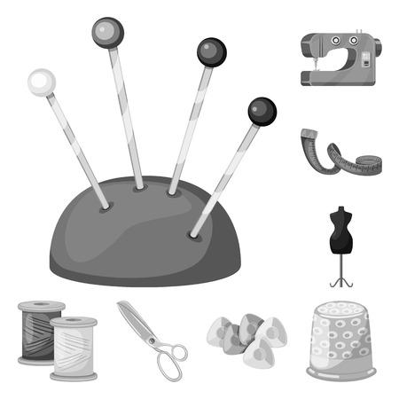 Vector illustration of dressmaking and textile icon. Collection of dressmaking and handcraft stock vector illustration.