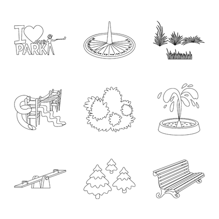 Isolated object of landscape and nature symbol. Collection of landscape and city stock vector illustration. Vecteurs