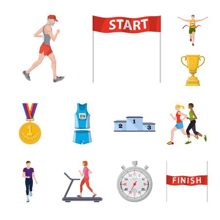 Illustration vectorielle du signe de l'étape et du sprint. Collection de symbole boursier step et sprinter pour le web.