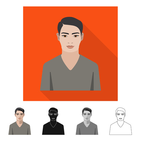 Vector illustration of hairstyle and profession  symbol. Set of hairstyle and character  vector icon for stock.