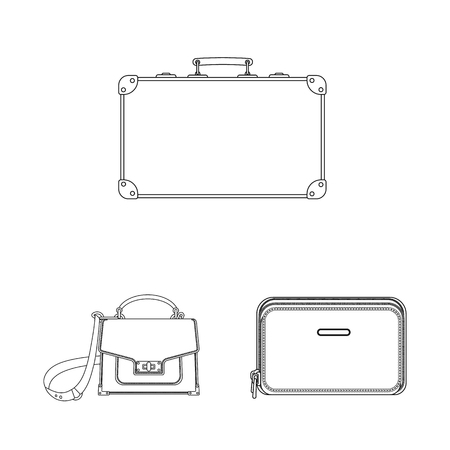 Vector illustration of suitcase and baggage sign. Collection of suitcase and journey vector icon for stock.
