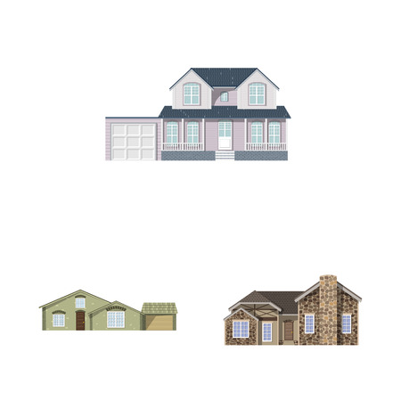 Vector illustration of building and front symbol. Collection of building and roof stock symbol for web. Stock Illustratie