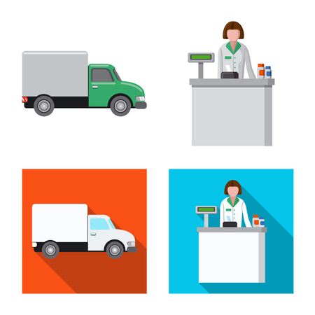 Vector illustration of pharmacy and hospital symbol. Collection of pharmacy and business stock symbol for web. Illustration