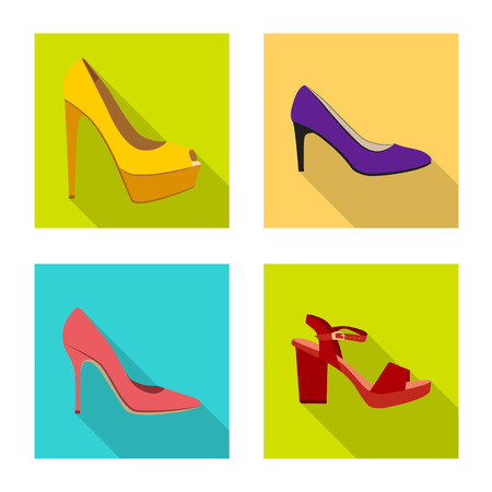 Isolated object of footwear and woman icon. Set of footwear and foot vector icon for stock.