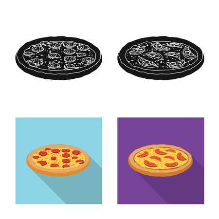 Vector illustration of pizza and food icon. Set of pizza and italy stock vector illustration.