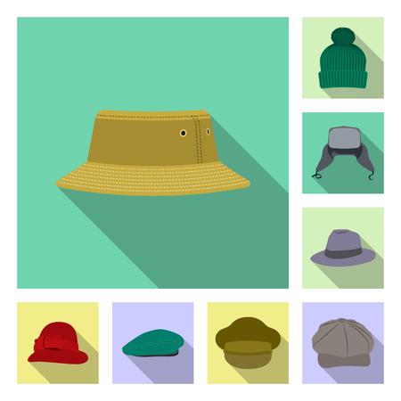 Vector illustration of headgear and cap sign. Set of headgear and accessory stock vector illustration. Illustration