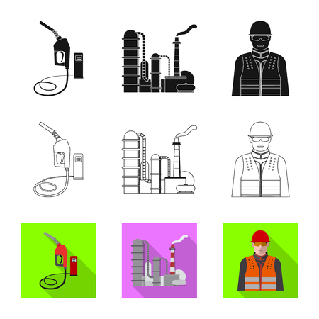 Isolated object of oil and gas sign. Collection of oil and petrol stock vector illustration.