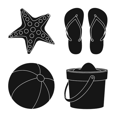 Vector illustration of equipment and swimming sign. Set of equipment and activity stock vector illustration.