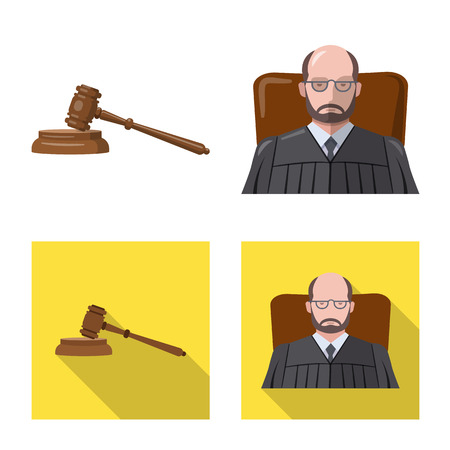 Vector illustration of law and lawyer sign. Set of law and justice stock vector illustration. Illustration