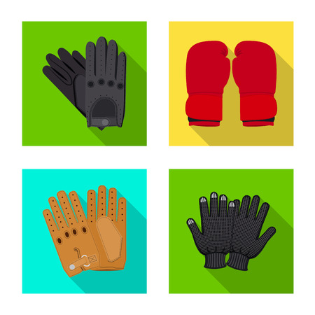 Vector design of glove and winter sign. Set of glove and equipment vector icon for stock.