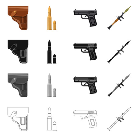 Vector design of weapon and gun sign. Set of weapon and army stock vector illustration. Vector Illustratie